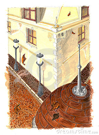 Autumn city painting