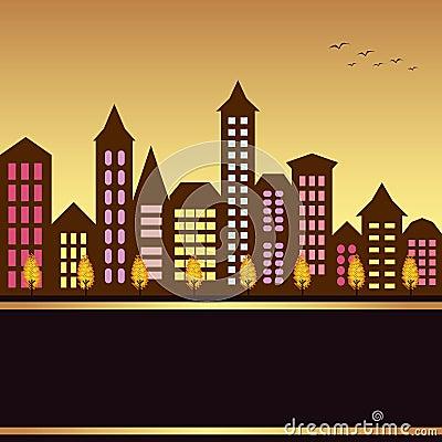 Autumn cityscape illustration