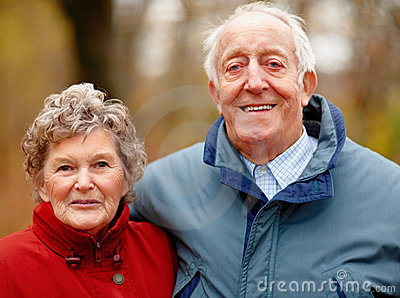 Autumn - Closeup portrait of a mature couple