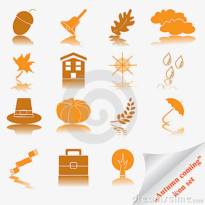 Autumn coming soon icon set