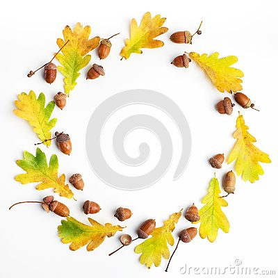 Free Autumn Composition. Frame Made Of Autumn Leaves And Pine Cones On White Background. Flat Lay, Top View, Copy Space Stock Photo - 101828680