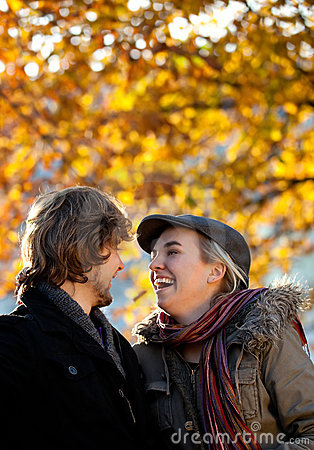 Autumn couple outdoors