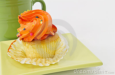 Autumn Cupcake with Orange Frosting