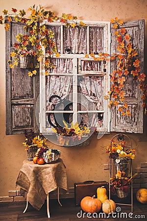 Free Autumn Decorated Patio. Stock Photo - 77101860