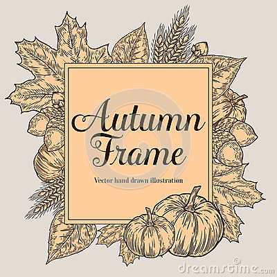 Free Autumn Design For Greeting Card. Vintage Harvest Festival Autumn Elements. Hand Drawn Vector Doodle Frame With Leaves, Acorn, Clov Stock Image - 80187601