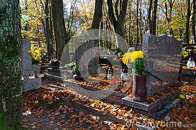 Autumn details on Polish cemetery