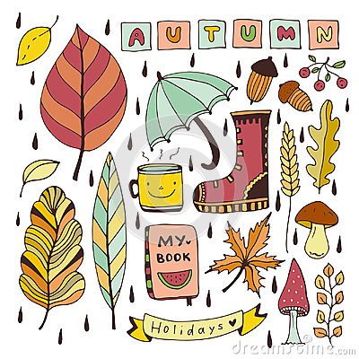 Free Autumn Doodles. Isolated Elements For Stickers Or Patches. Stationery Design Vector Illustration. Royalty Free Stock Image - 97957516