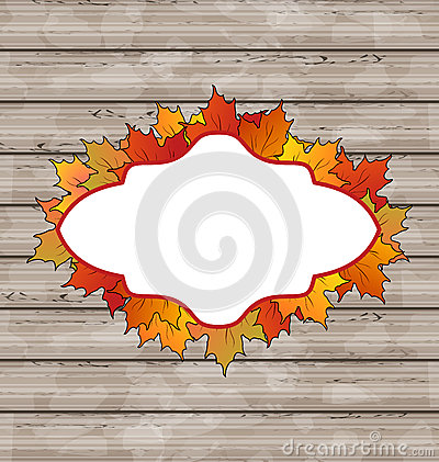Autumn emblem with leaves maple, wooden texture