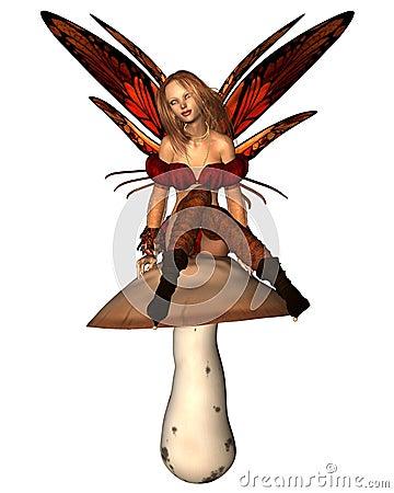 Autumn Fairy sitting on a toadstool