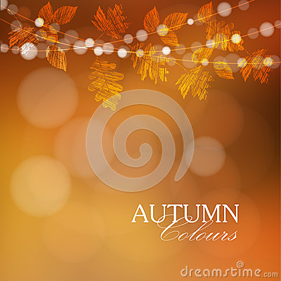 Free Autumn, Fall Background With Leaves And Lights, Stock Photography - 56678052