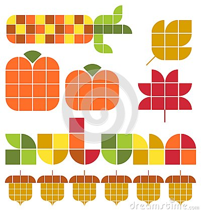 Mosaic Autumn Fall Set/eps