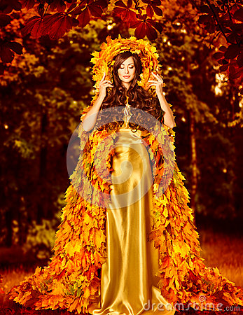 Free Autumn Fashion Woman Fall Leaves Dress, Outdoor Leaf Coat Stock Images - 77131074