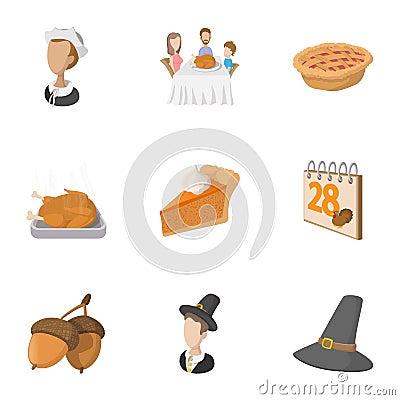 Autumn festival icons set, cartoon style Vector Illustration