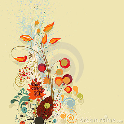 Autumn floral composition background
