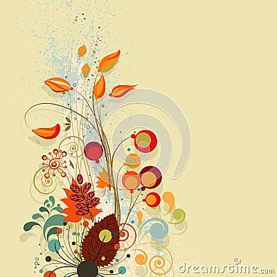 Autumn floral composition background