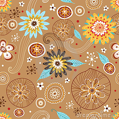 Autumn Flower seamless pattern