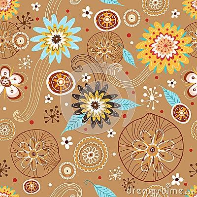 Autumn Flower seamless pattern