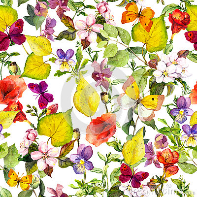 Free Autumn Flowers, Butterflies. Ditsy Repeating Floral Pattern. Watercolor Stock Photography - 75631982