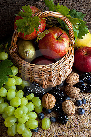 Free Autumn Foods In A Basket Royalty Free Stock Photo - 16136115