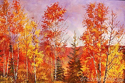 Autumn forest, oil painting.