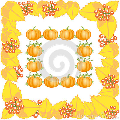 Autumn frame with leaves and pumpkin