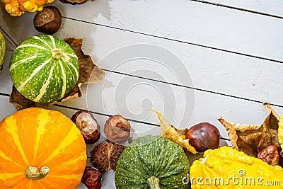Autumn frame made of pumpkin