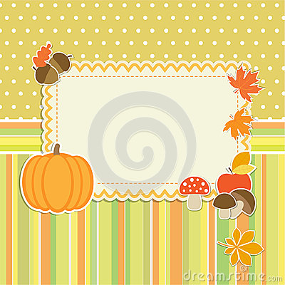 Autumn frame with pumpkin