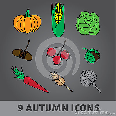 Autumn fruit icons eps10
