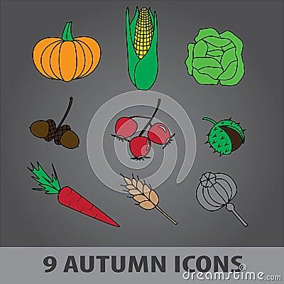 Autumn fruit icons eps10