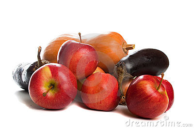Autumn fruit and vegetables, isolated