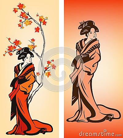 Autumn Geisha vector