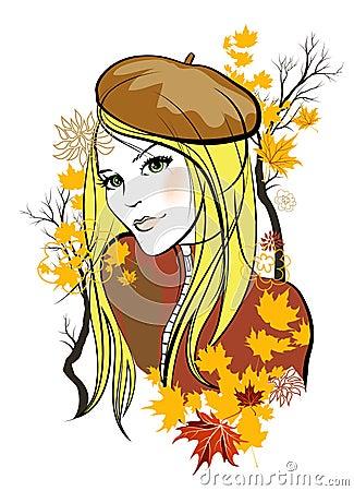 Autumn girl Vector Illustration