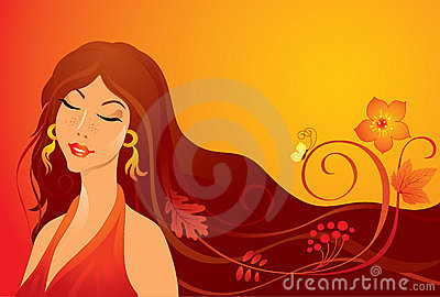 Autumn girl Vector Illustration