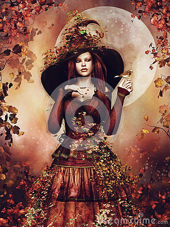 Autumn girl with ivy Stock Photo