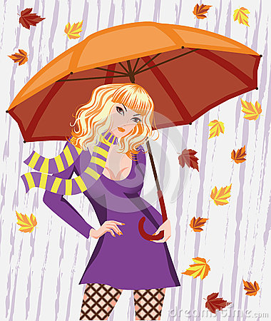 Autumn girl with umbrella
