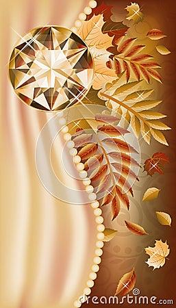 Autumn greeting card with precious gemstone
