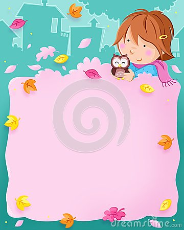 Autumn is here - colorful leaves, lovely little girl and cute owl Cartoon Illustration