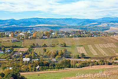 Autumn hilly country view