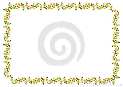 Autumn horizontal frame with colorful maple leaves. Stock Photo