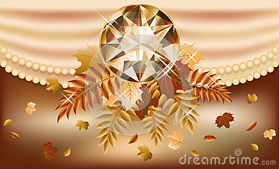 Autumn invitation card with precious gemstone