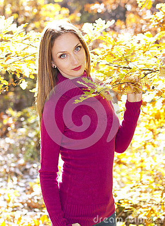 Autumn joy girl portrait