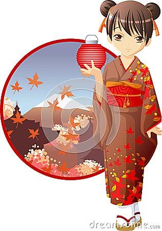 Autumn kimono girl Stock Photo