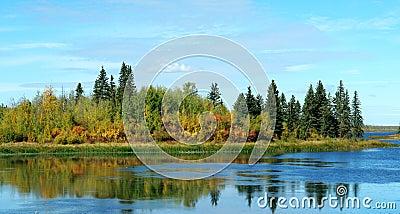 Autumn lake and island