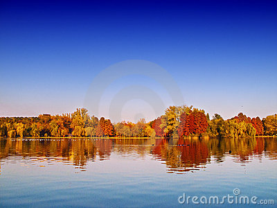 Autumn lake scenery