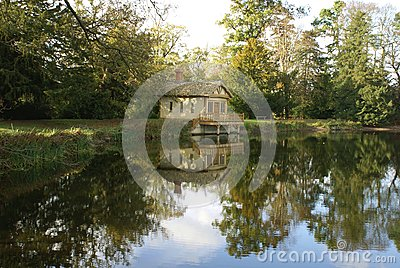 Autumn lakeside scene Stock Photo