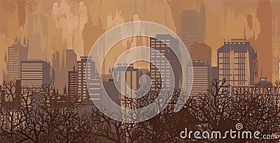 Autumn landscape in brown colors, city skyline