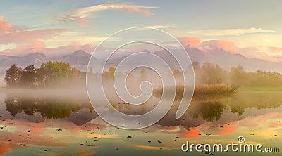 Autumn landscape and foggy  lake