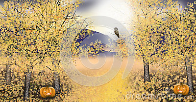 Autumn landscape with golden asp trees pumpkin owl