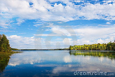 Autumn landscape with lake and autumn trees royalty free for Landscaping rocks windsor ontario
