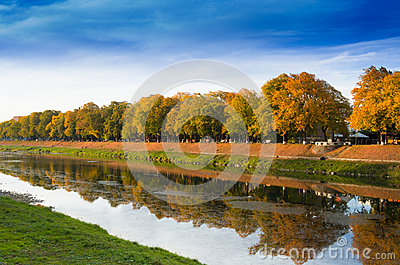 Autumn landscape with a reflection